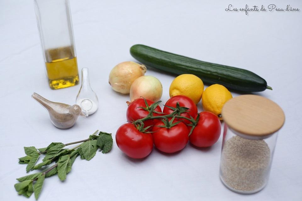 Ingrédients taboulé au quinoa b